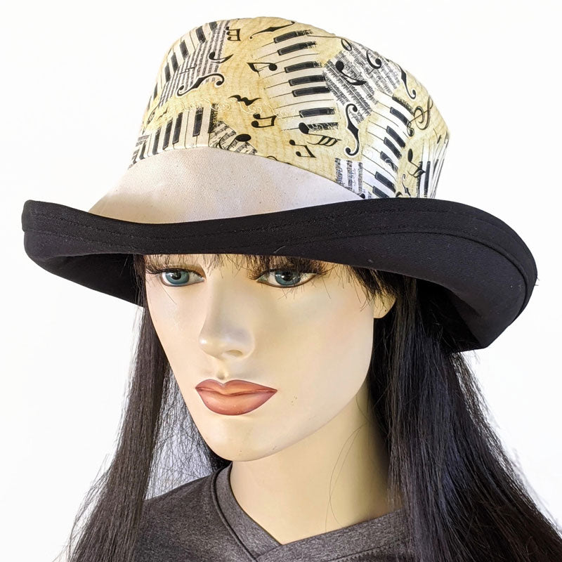 119 Sunblocker UV summer sun hat with large wide brim featuring music