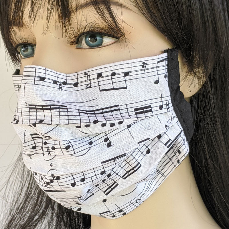 3 layer pleated folding style fabric face mask, sheet music, one size