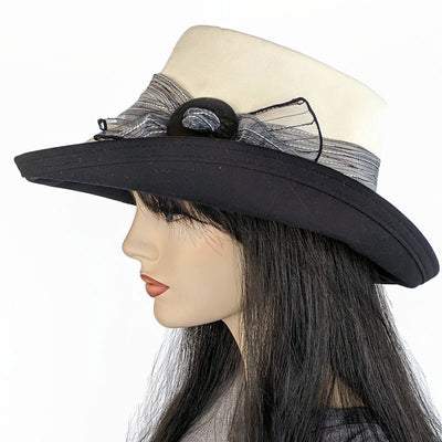 311 Extra wide brim sunblocker in natural organic cotton with shell buckle and textured scarf