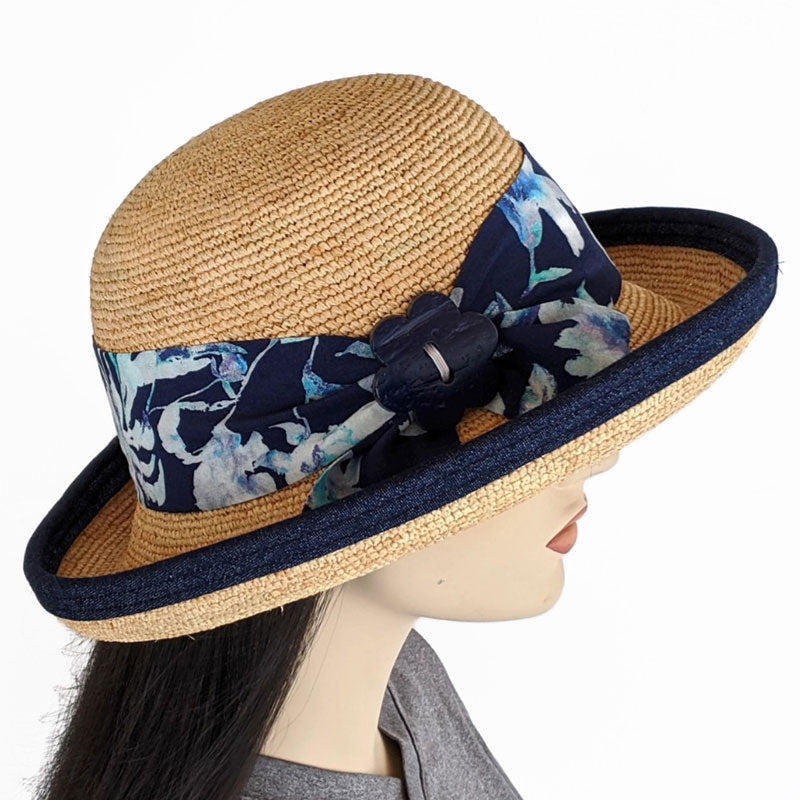 202c- Raffia Travel Sun Hat with adjustable fit in with removable scarf and navy trim