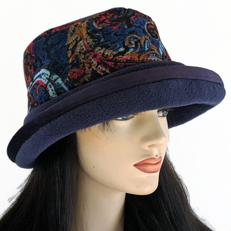 Premium Fashion Hat in Navy with wide brim with tuck up earflaps