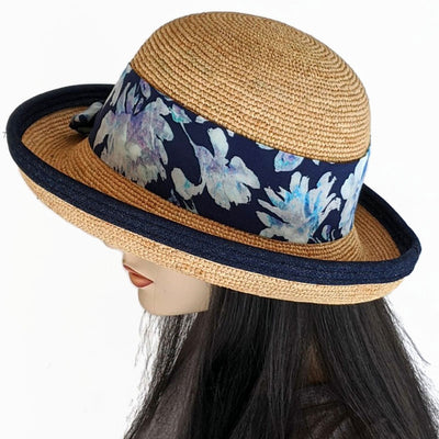 202-c Raffia Travel Sun Hat with adjustable fit in with removable scarf and navy trim