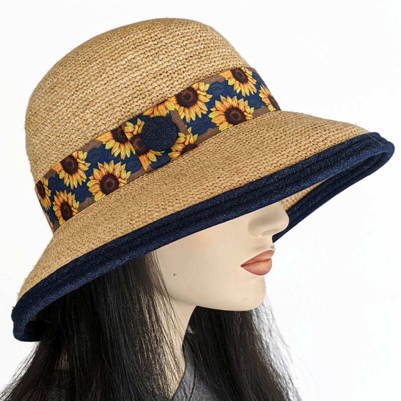 205 Raffia Travel Sun Hat with adjustable fit in with sunflower trim