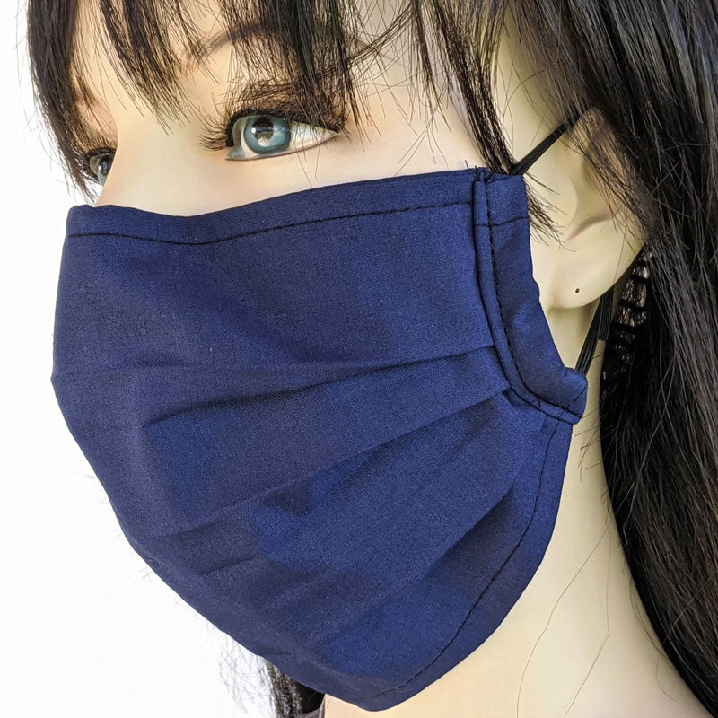 3 layer pleated folding style fabric face mask, solid navy, one size