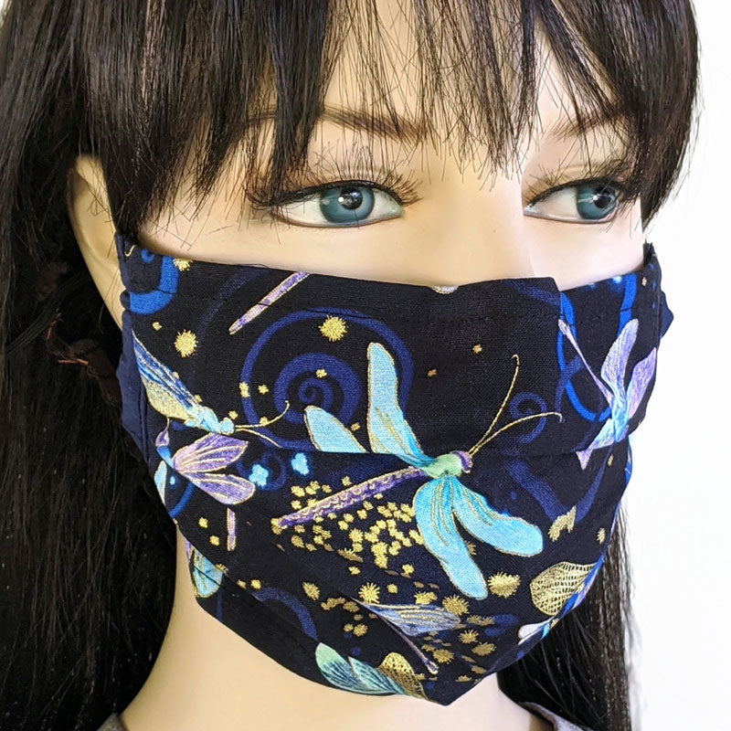 3 layer pleated folding style fabric face mask, beautiful dragonflies on dark navy, one size