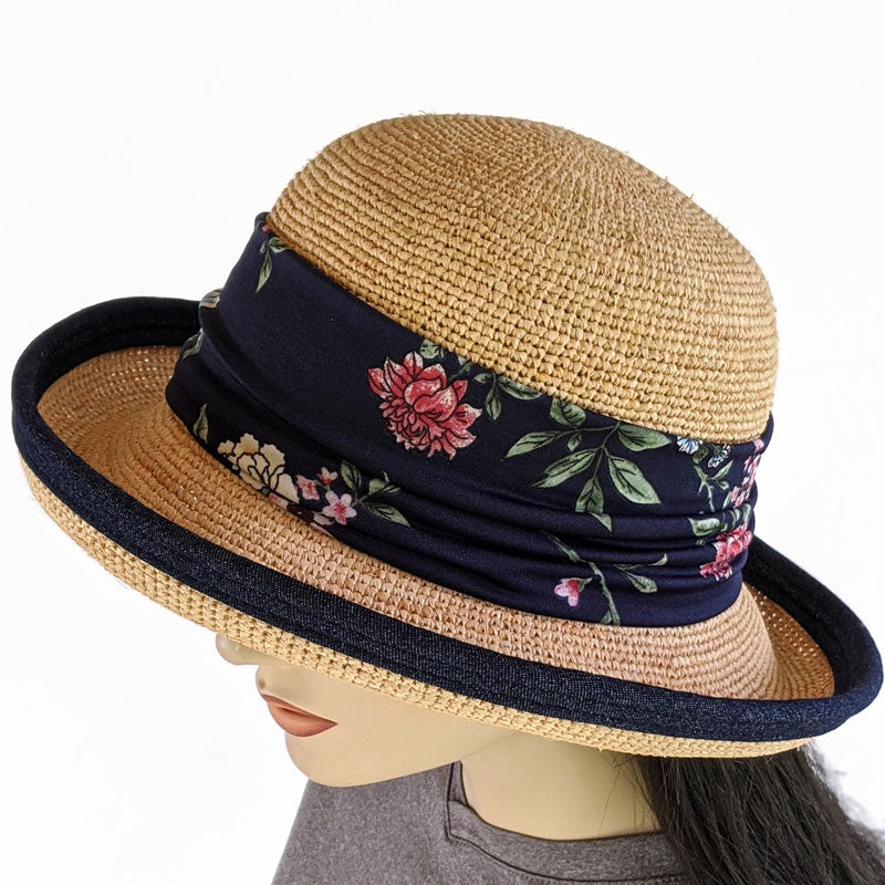 201-1c Raffia Straw sun hat with finished edge, adjustable fit, removable headband