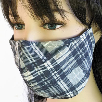 Cotton linen Fabric face mask, with poly cotton lining, navy grey and cream plaid in two sizes