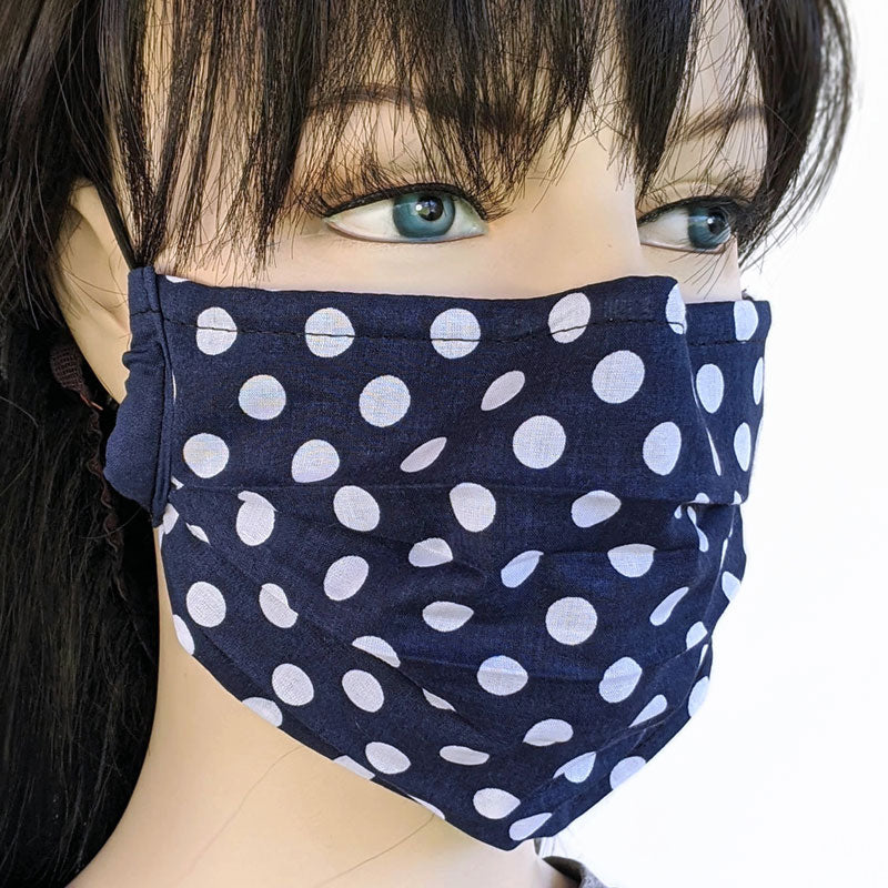 3 layer pleated folding style fabric face mask, 3 layers, navy polka dots, one size