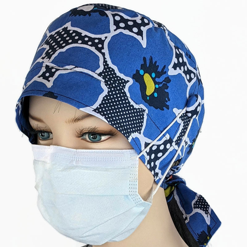 Nurses cotton scrub cap, elastic and tie fit, mask elastic built in buttons, navy poppies