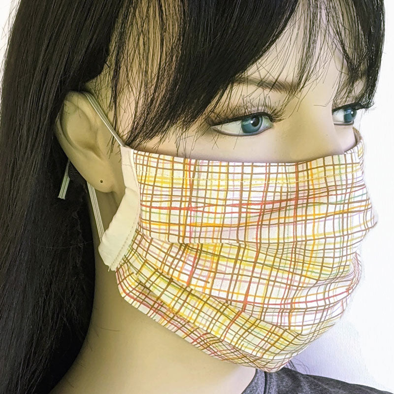 3 layer pleated folding style fabric face mask, beautiful summer crosshatch plaid in neutral, one size