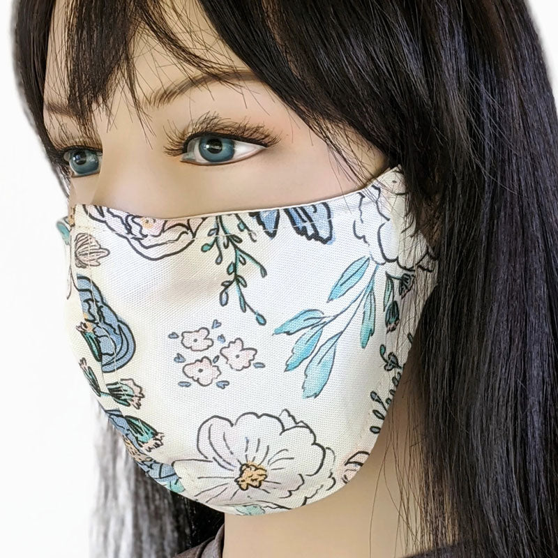 Cotton linen Fabric face mask, with poly cotton lining, creamy floral
