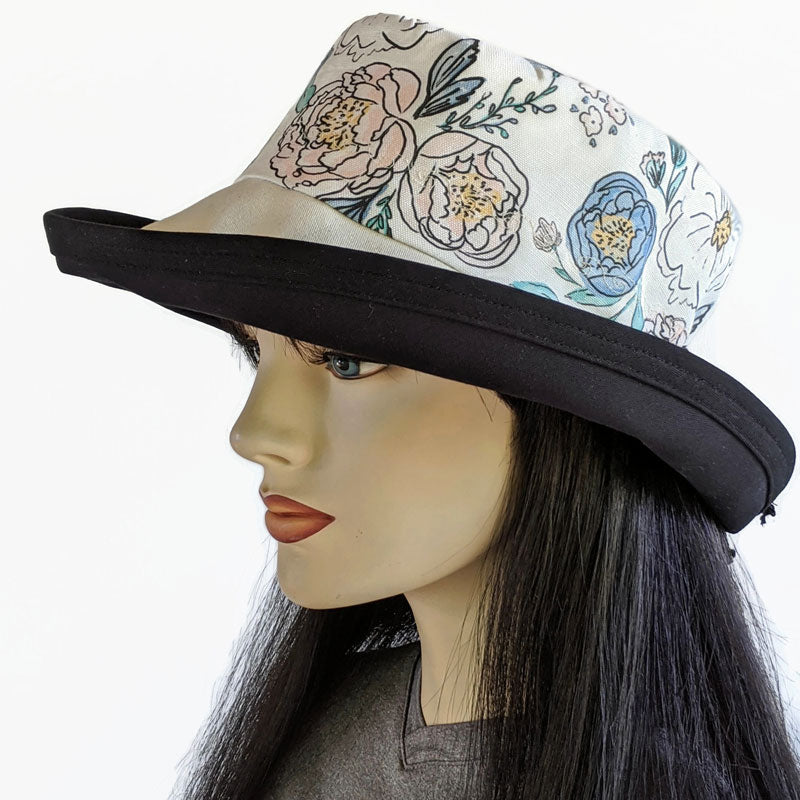 117-a Sunblocker UV summer hat cotton sun hat featuring lovely floral inspired print