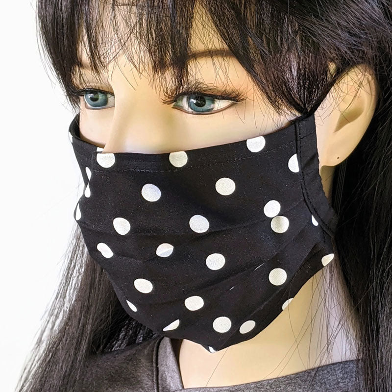 3 layer pleated folding style fabric face mask, medium dots in black and white, one size