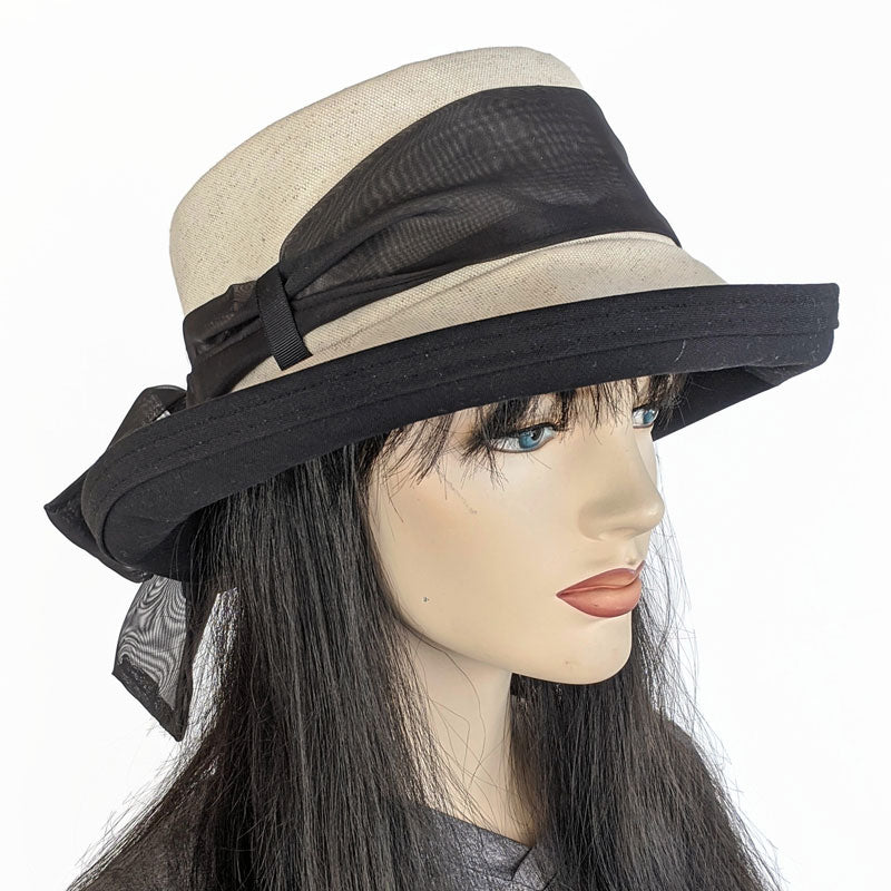 301 Sunblocker with Scarf - Natural Oatmeal with removable Black Scarf