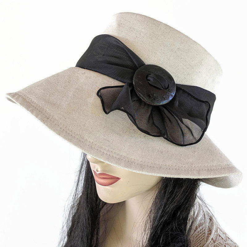 302 Floppy Big Brim Sunblocker with Scarf - Oatmeal Cotton Flax