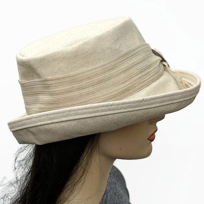 305 Sunblocker with scarf and coconut buckle trim in oatmeal cotton flax