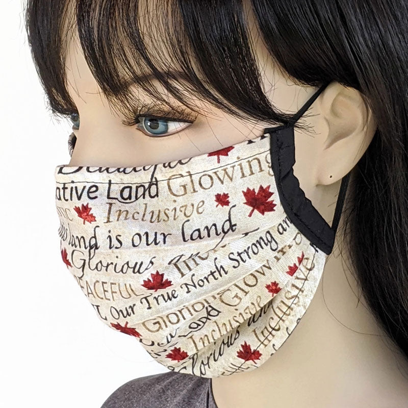 Accordion pleated fold style fabric face mask, Oh Canada, one size