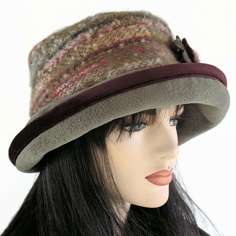 Premium Fashion Hat in Olive Green with tuck up earflaps
