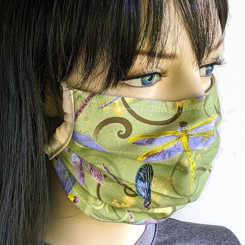 3 layer pleated folding style fabric face mask, beautiful swirls and dragonflies on olive green, one size