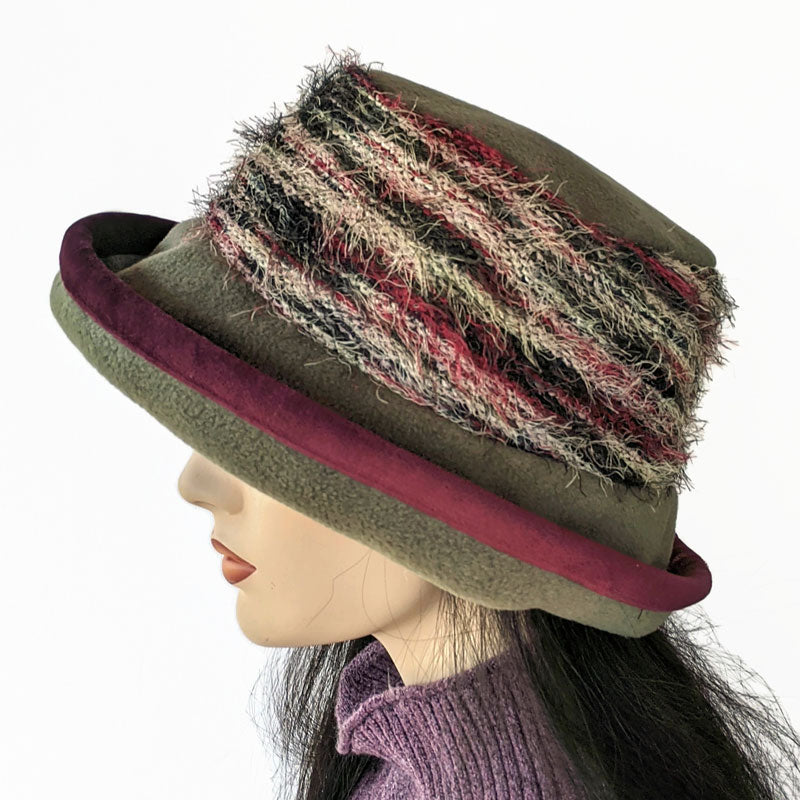 Premium Fashion Hat in Olive with eyelash fabric and earflaps