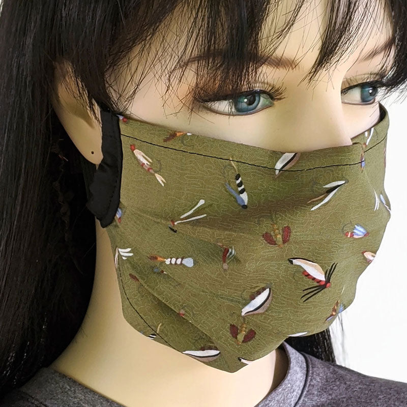 3 layer pleated folding style fabric face mask, featuring olive based fishing lures, one size