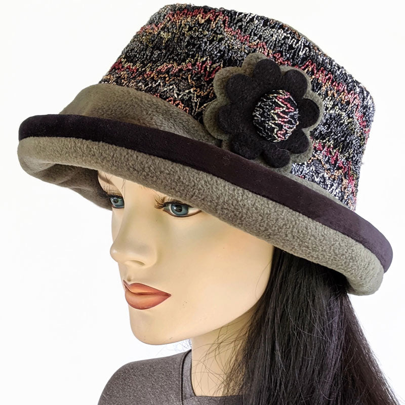 Premium Fashion Hat in olive with textured zig zag band, pin and earflap cuff