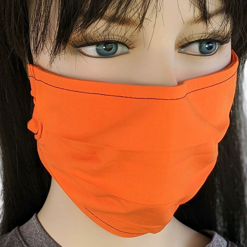 Accordion pleated fold style fabric face mask, 3 layers, bright orange, one size