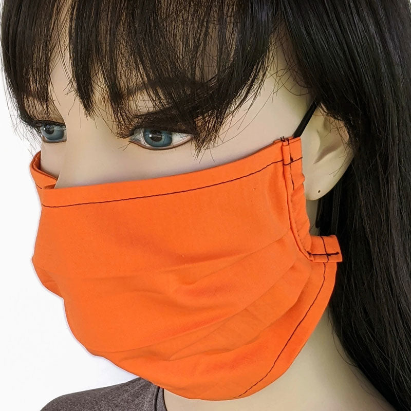 3 layer pleated folding style fabric face mask, bright orange, one size