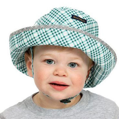 Kids Adjustable Sun Hat, in sizes infant to 8 years, blue plaid print