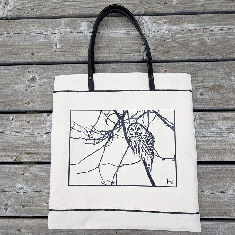 601 Premium Canvas Tote featuring our Owl graphic