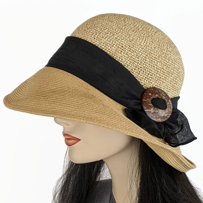 215 Straw Travel Sun Hat in natural or brown with black scarf trim