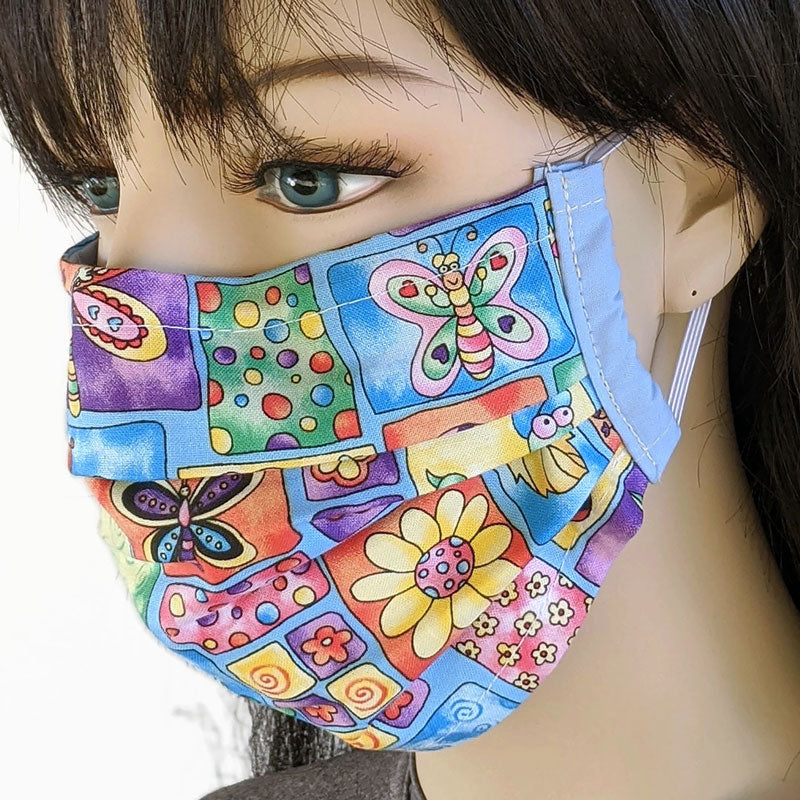 3 layer pleated folding style fabric face mask, pastel garden theme, adult and youth size
