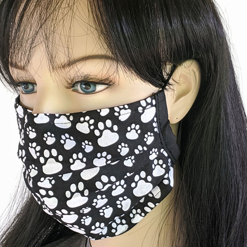 3 layer pleated folding style fabric face mask, paw prints, one size