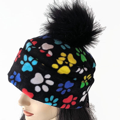 Pom Pom Toque featuring fun paw print, multi color