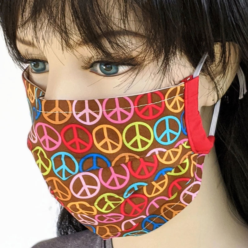 Accordion pleated fold style fabric face mask, peace signs, one size