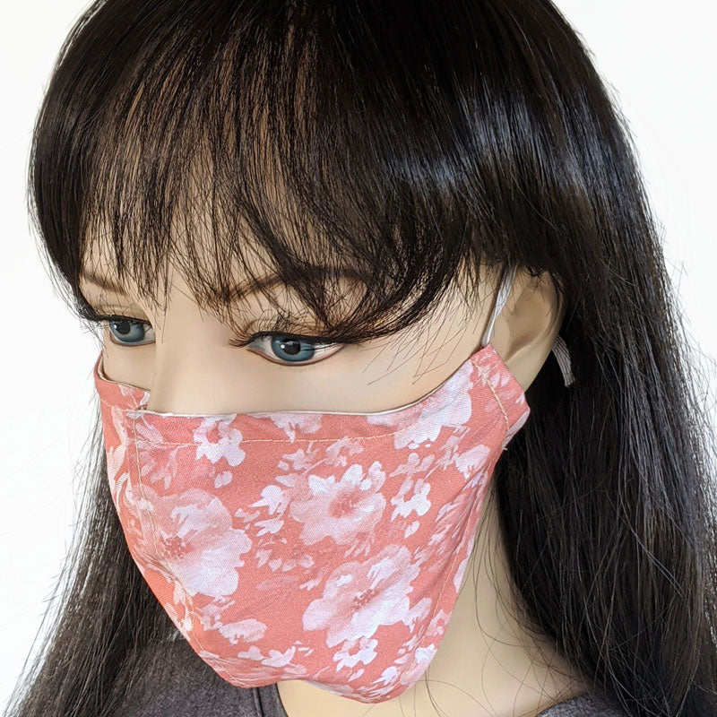 Fabric face mask, peachy pink floral, in regular adult size