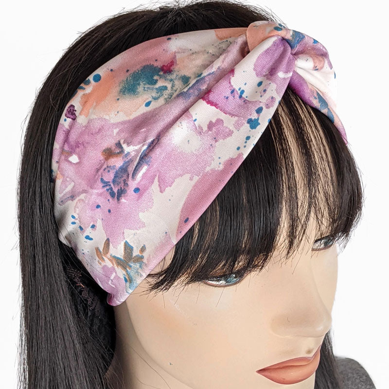 Turban style comfy wide poly knit fashion headband, pink splatter
