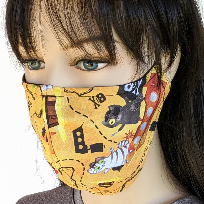 Three layer fabric face mask, pirate cat, in adult regular and adult small youth