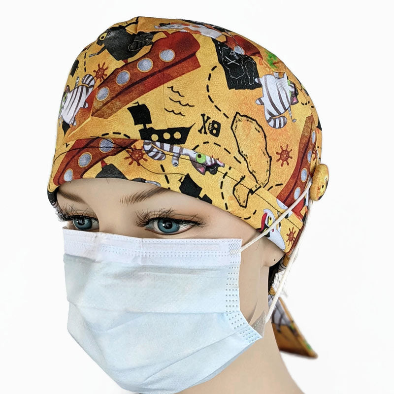 Cotton scrub cap, elastic and tie fit, mask elastic built in buttons, unisex, pirate cats