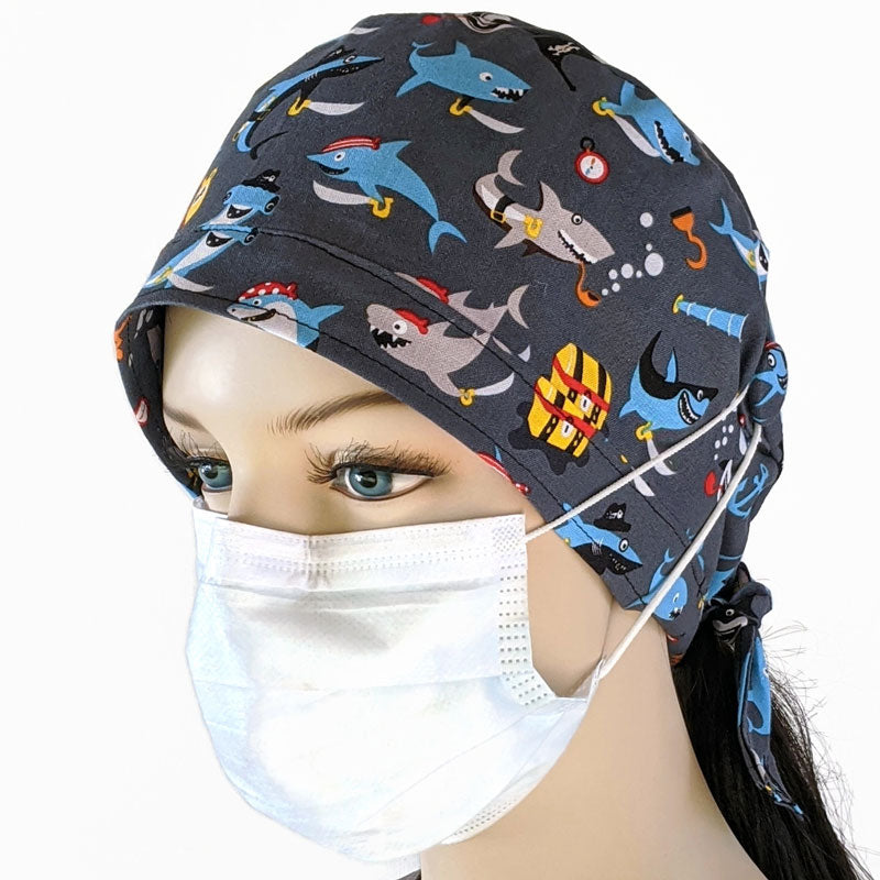 Cotton scrub cap, unisex, elastic and tie fit, ear saver mask elastic buttons, pirate sharks