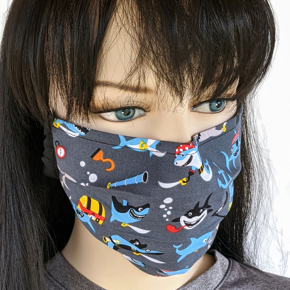Accordion pleated fold style fabric face mask, pirate sharks, one size