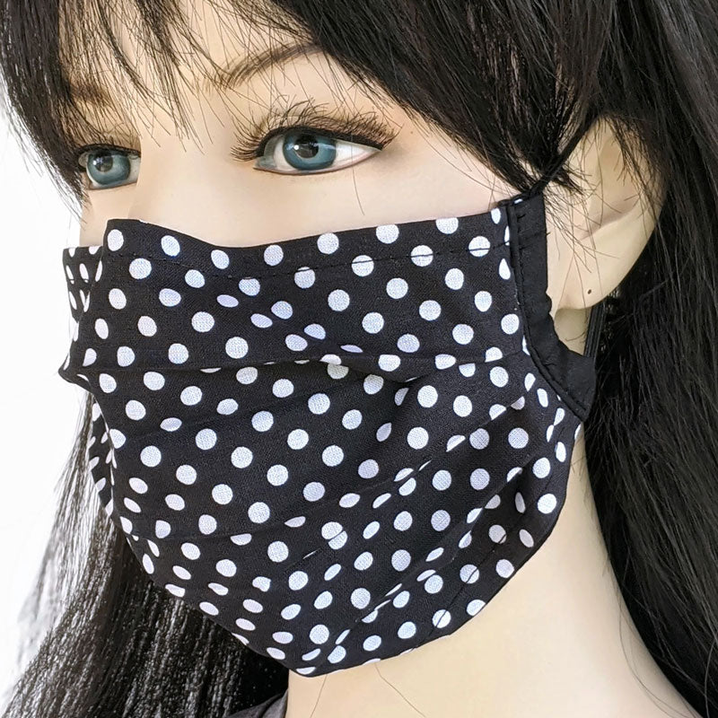3 layer pleated folding style fabric face mask, polka dots, one size