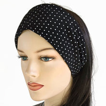 Sunblocker UV summer sun hat with large wide brim featuring black and white polka dots