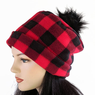Pom Pom Toque in classic red and black Buffalo Check