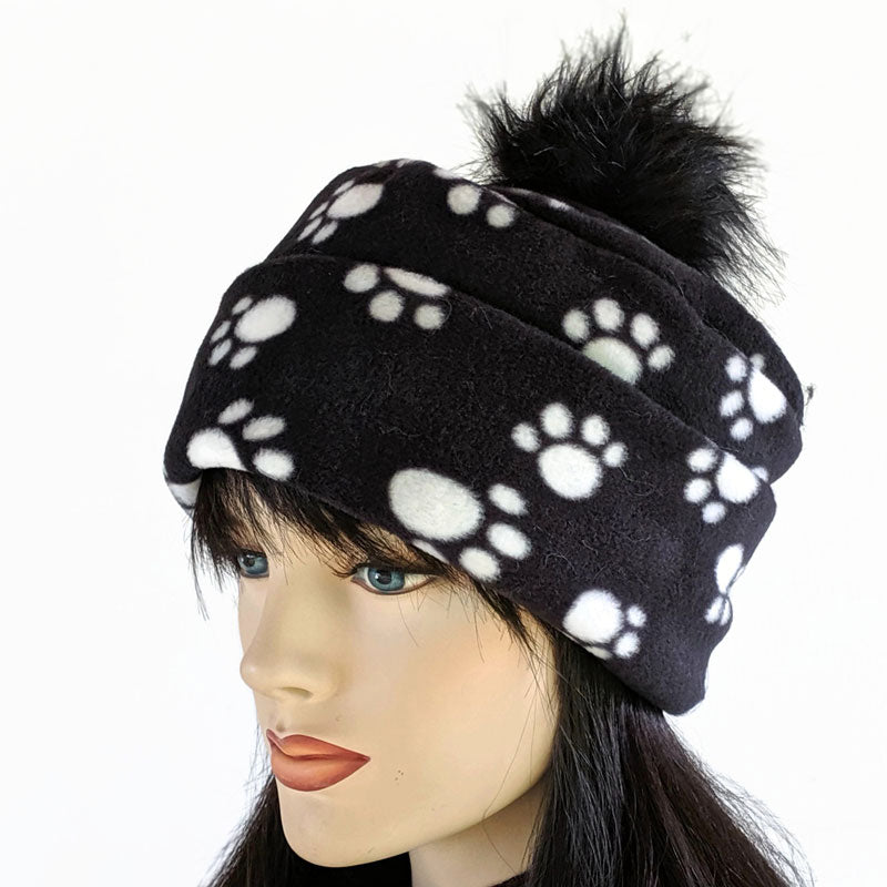 Pom Pom Toque featuring fun paw print, black and white