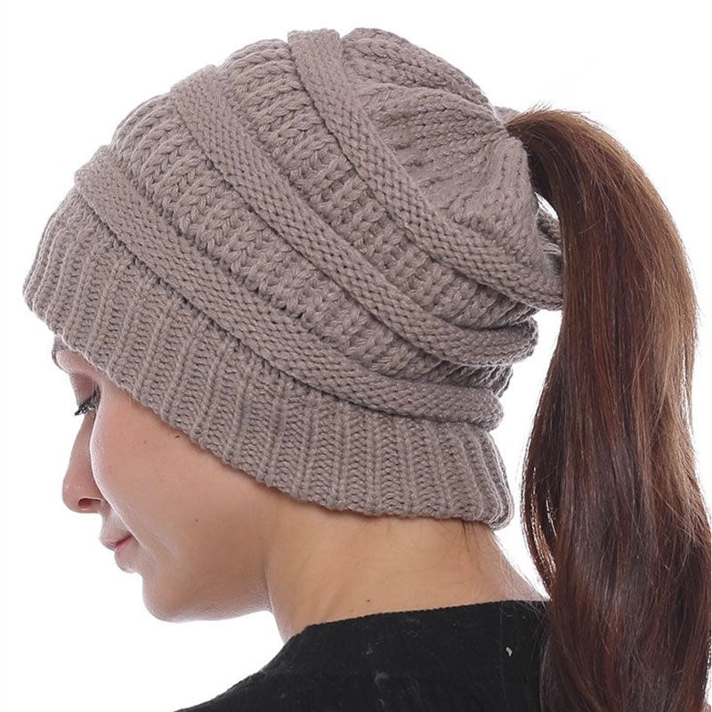 Knit hat for pony tails and messy buns