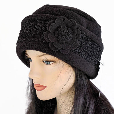 Persian Lamb faux fur fashion Toque premium fleece toque in black or grey