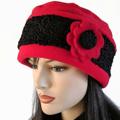 Persian Faux fur with fashion toque in Red and Black
