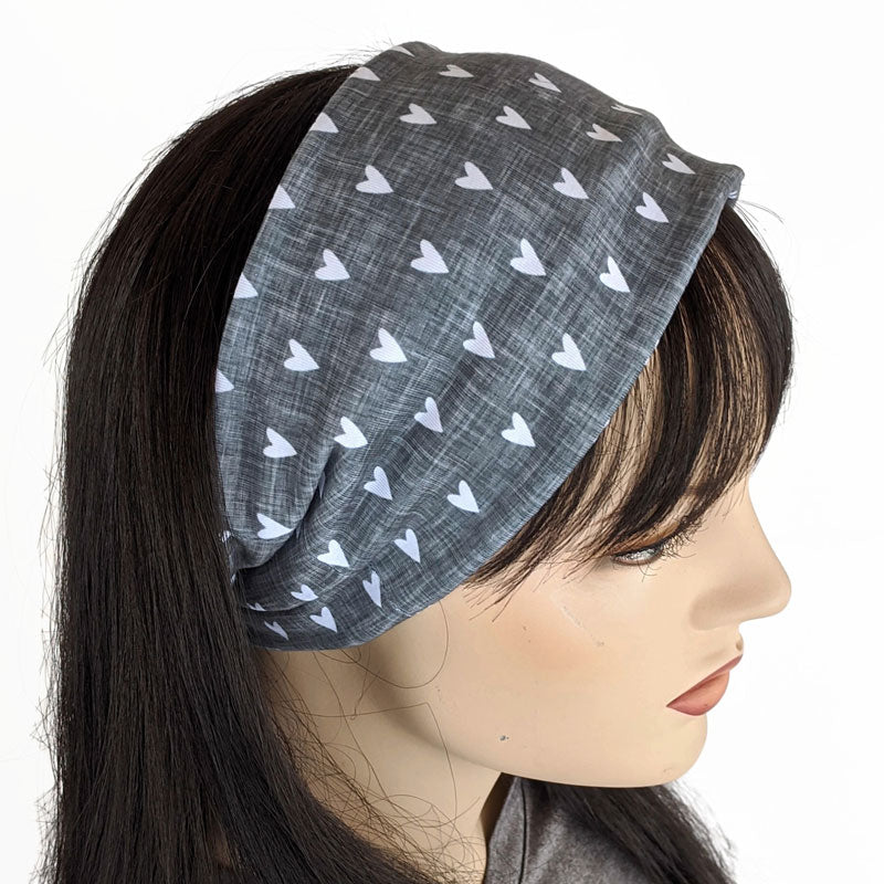 Premium, custom printed fabric, wide comfy jersey knit band, hat band, hearts
