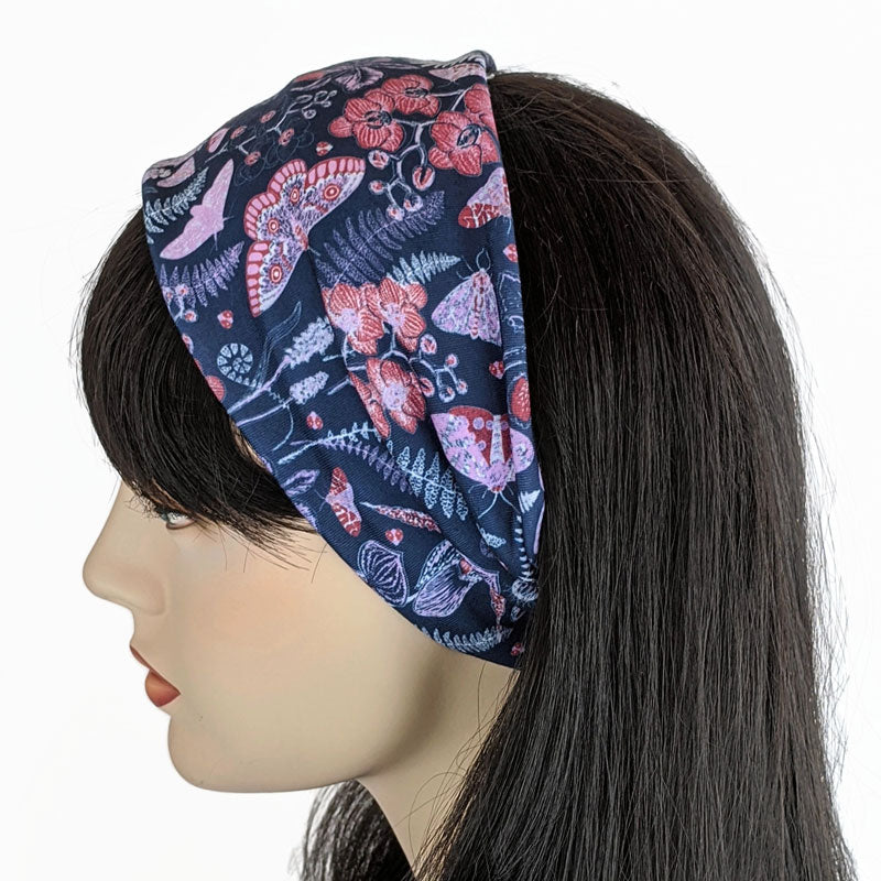 13- Premium, custom printed fabric, wide comfy jersey knit band, hat band, navy garden